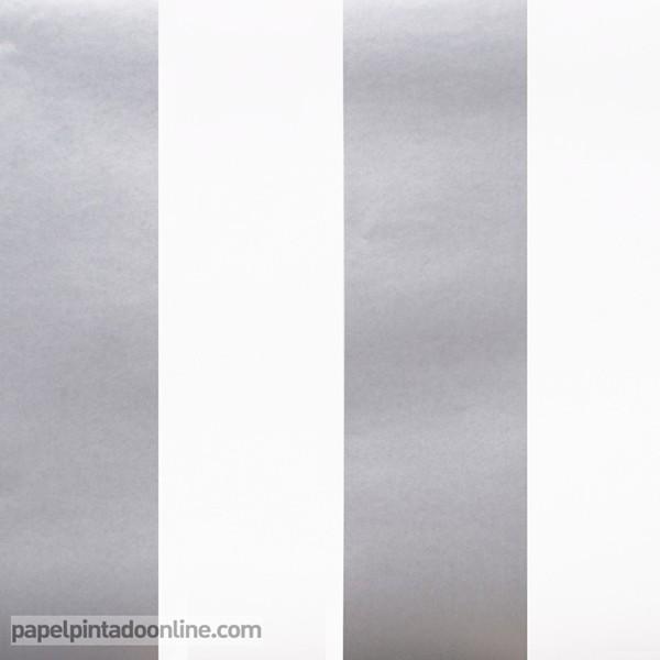 Papel às riscas em branco e prata ref. 11505