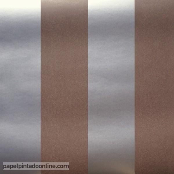 Papel às riscas em castanho e prata ref. 11508