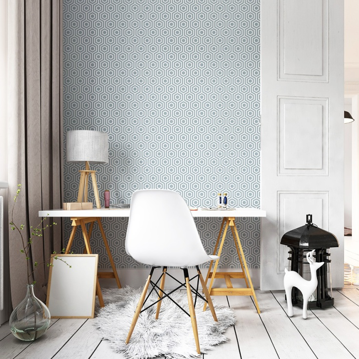 Papel de parede geom trico est de moda papel de parede online - Papel pintado turquesa ...