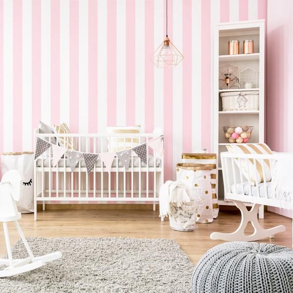 Papel de parede Riscas Brancas e Rosa Ref 904