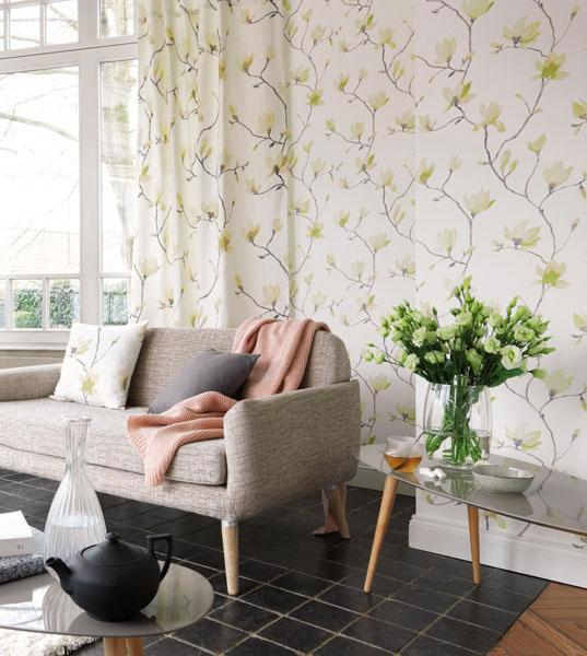 Papel de parede flores e ramos coleção florescence