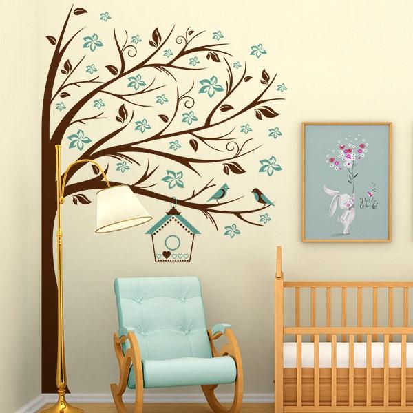 Vinil decorativo infantil de árvore e pássaros