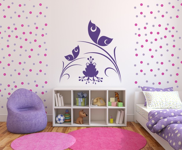 Vinil decorativo infantil sapo e borboletas