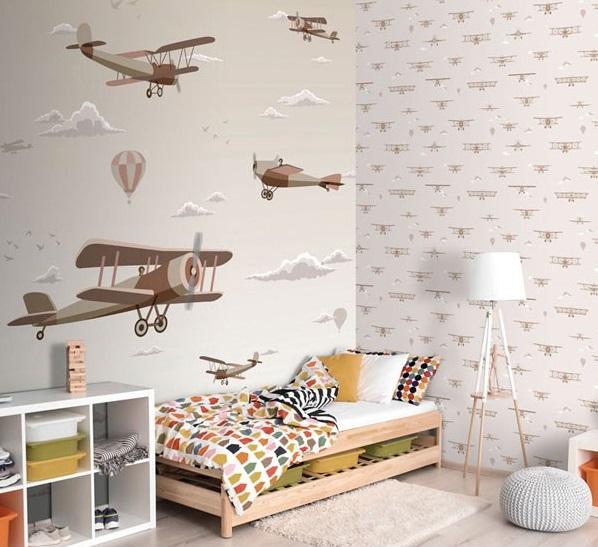 Papel de parede infantil Sambori Aviões