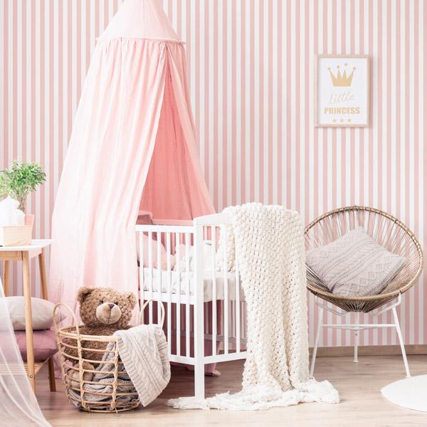 Papel de parede riscas rosa