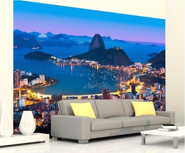 Parede decorada com fotomural Rio de Janeiro
