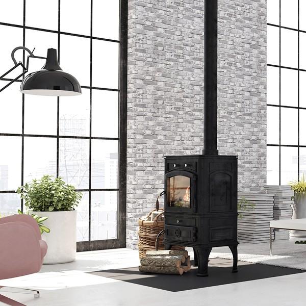 papel de parede imitação tijolo cinza ref1014