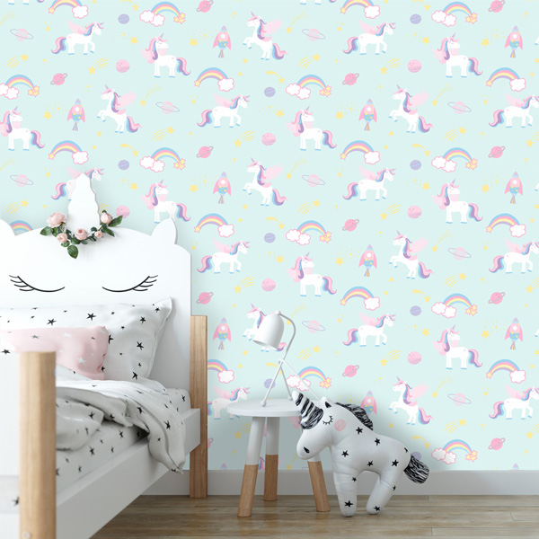 Papel de parede Over the rainbow unicornios