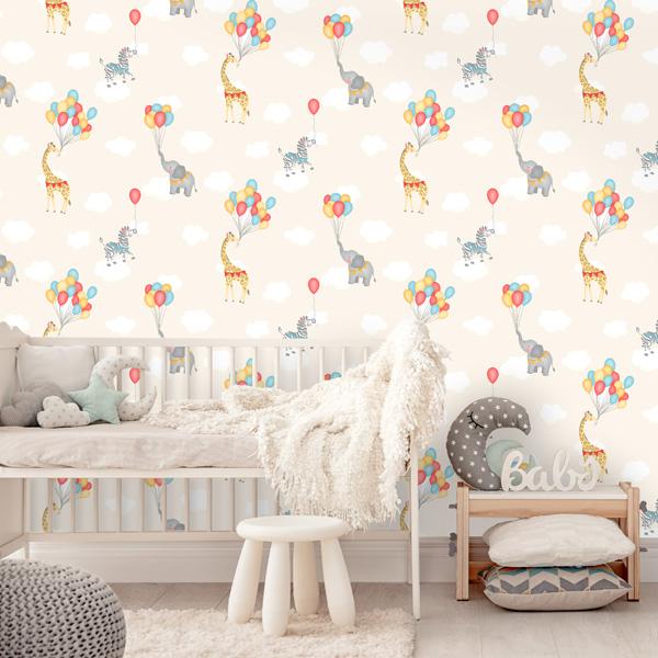 Papel de parede Over the rainbow girafas e balões