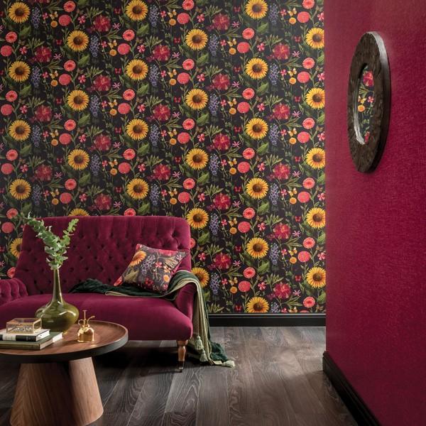 papel de parede de girassóis e fundo escuro bloom
