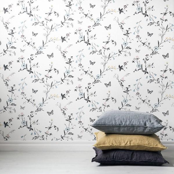 papel de parede borboletas de Unelmia fundo branco