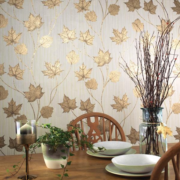 Papel de parede folhas de outono douradas