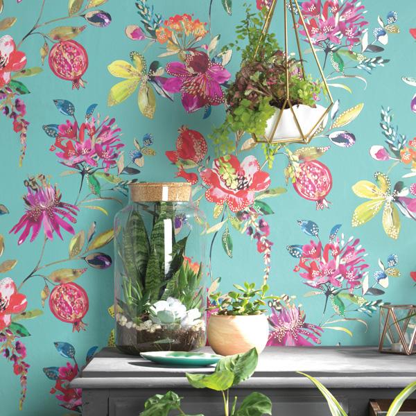 papel de parede flores e frutas
