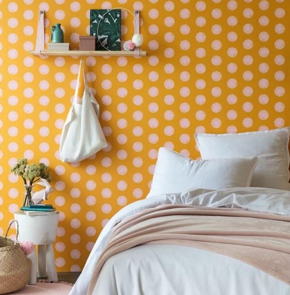 papel de parede bolas brancas fundo laranja