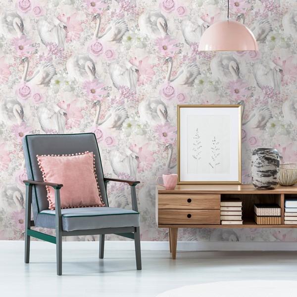 Papel de parede Ave Cisne branco e rosa