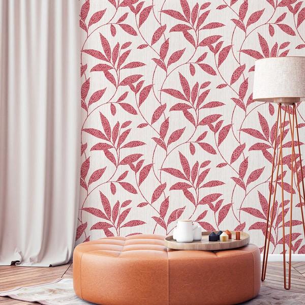 papel de parede folhas tons vermelhos