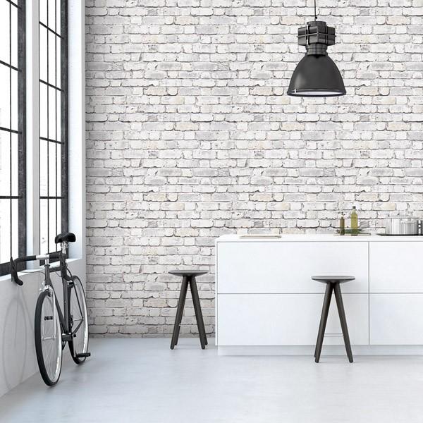 Papel de parede tijolo branco