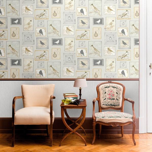 papel de parede pássaros em moldura