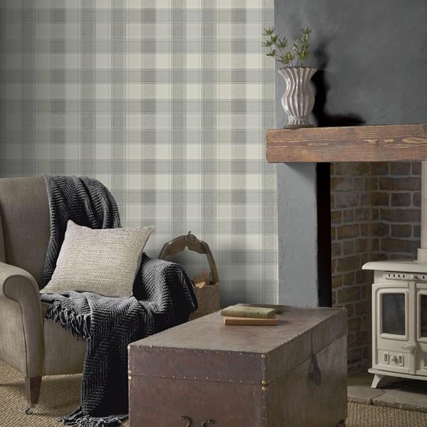 Papel de parede xadrez cinza