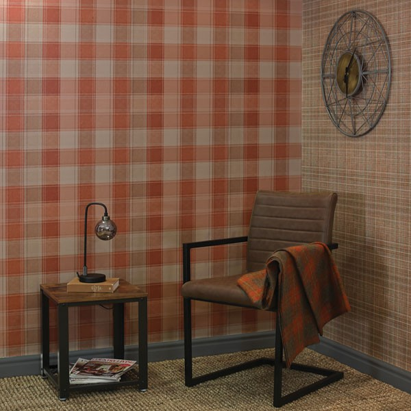 papel de parede xadrez laranja e beige