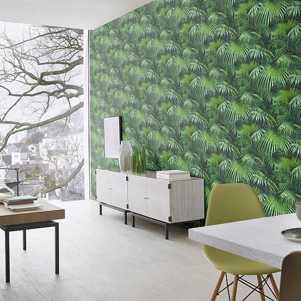 papel de parede natureza folhas de palmeiras tropicaisverde escuro