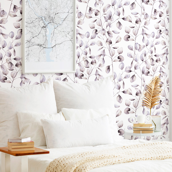papel de parede folhas malva