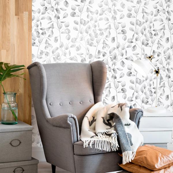 papel de parede natureza folhas pratas