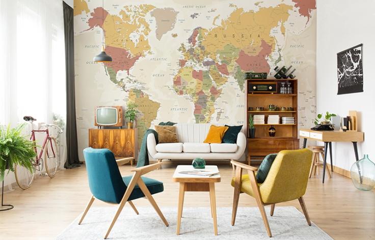 Painel mapa mundi tons pastéis
