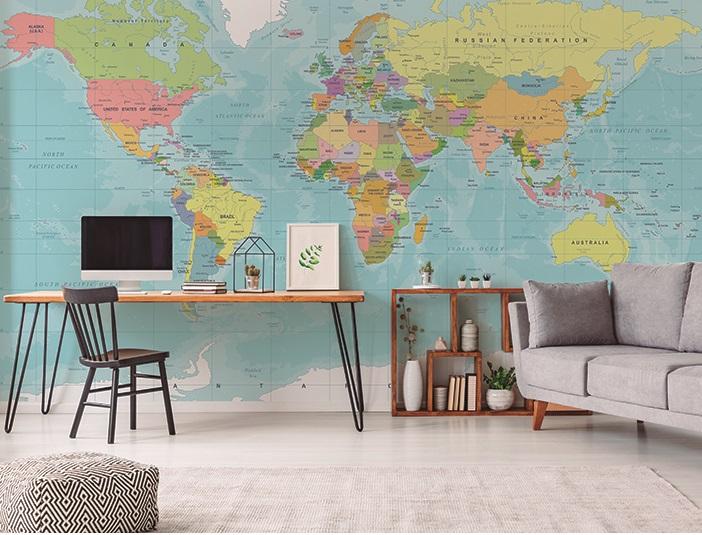 fotomural mapa mundi geográfico
