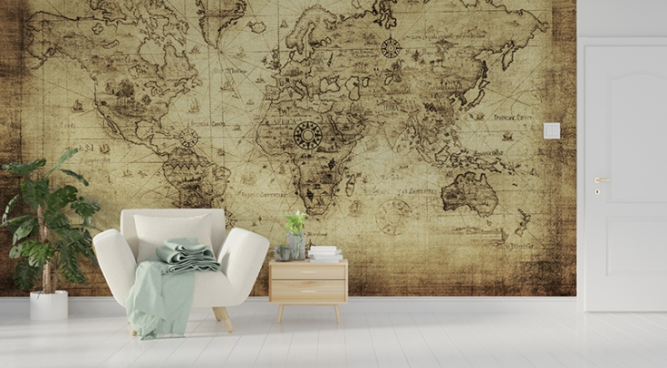 Fotomural mapa cartográfico