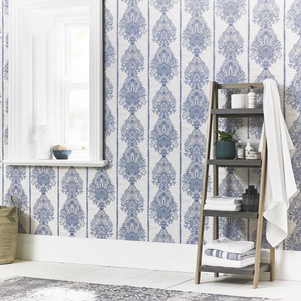 papel de parede ornamental Journeys azul