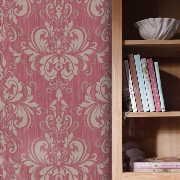 papel de parede ornamental vermelho e beige
