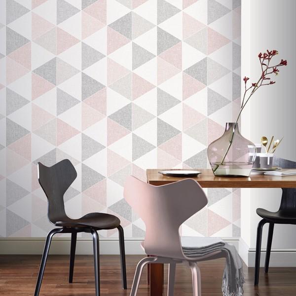 papel de parede retro house geométrico triangulos