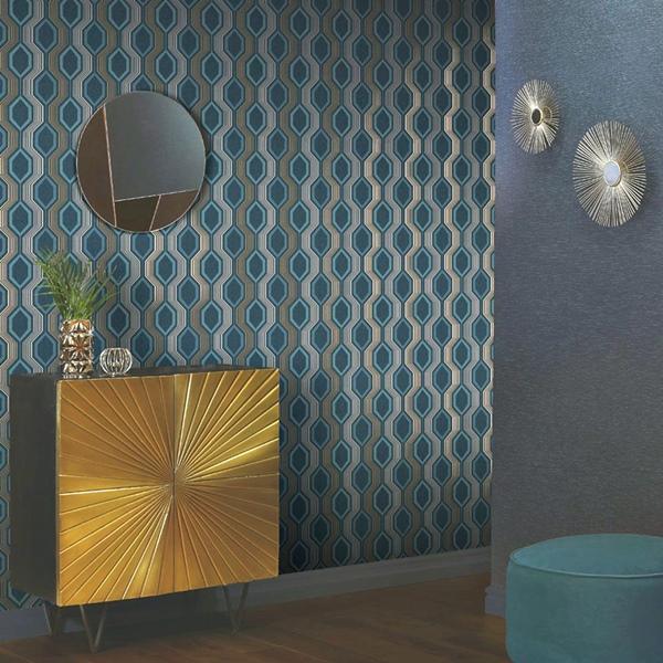 papel de parede geonétrico hexagonal