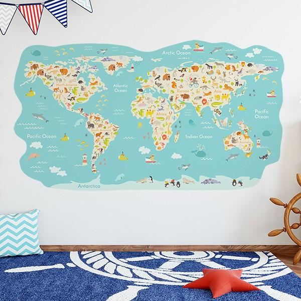 vinil autoadesivo infantil mapa mundo