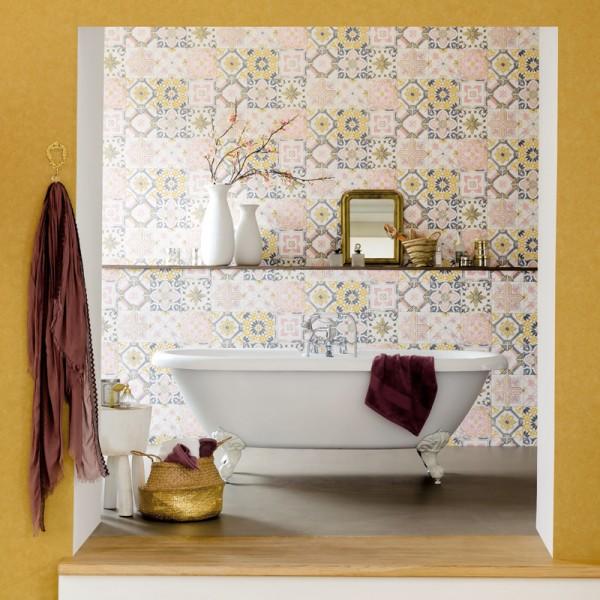 papel de parede azulejos para banho