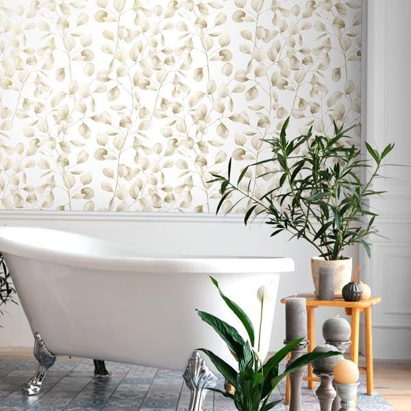 Papel de parede folhas pequenas douradas