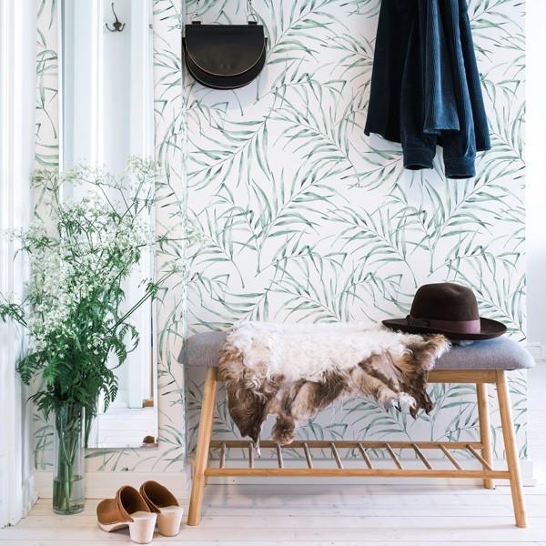 papel de parede folhas finas verdes