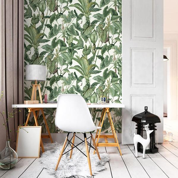 papel de parede natureza com folhas verdes