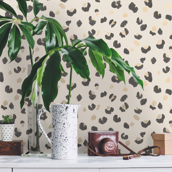 papel de parede creme animal print