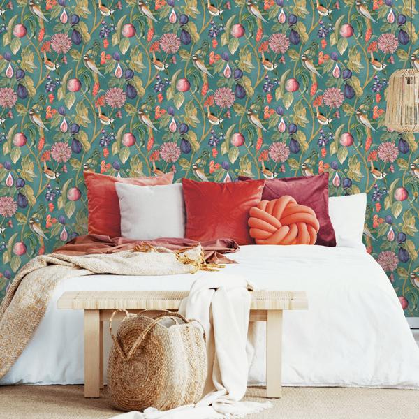 papel de parede folhas e flores coleção utopia