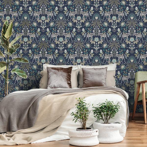 papel de parede damasco floral