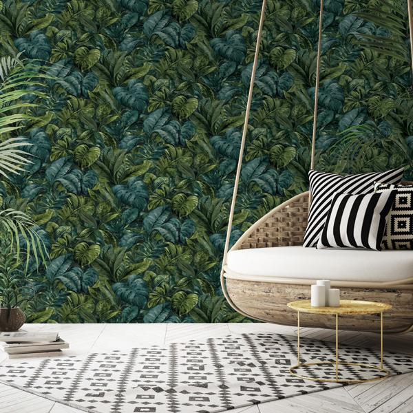 papel de parede folhas tropicais verdes