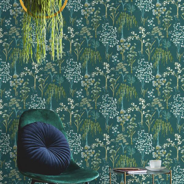papel de parede folhas e florais