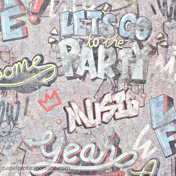 papel de parede texturizado com desenho de grafiti