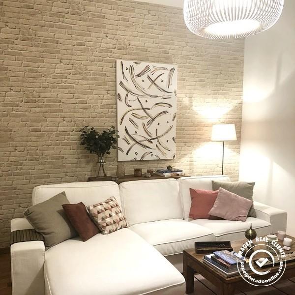 papel de parede tijolinho bege texturizado