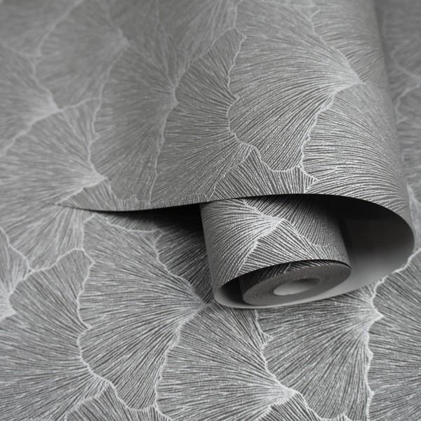 pspel de parede Abstracto cor cinza com prateado
