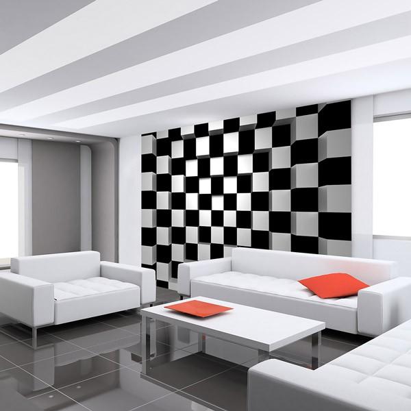 painel para parede cubos preto e branco