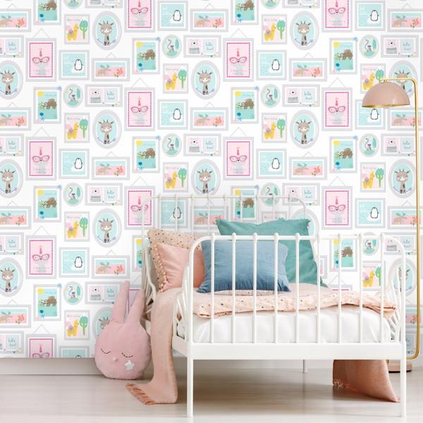 papel de parede infantil com molduras de animais