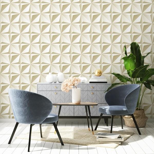 papel de parede efeito visual 3d dourado claro